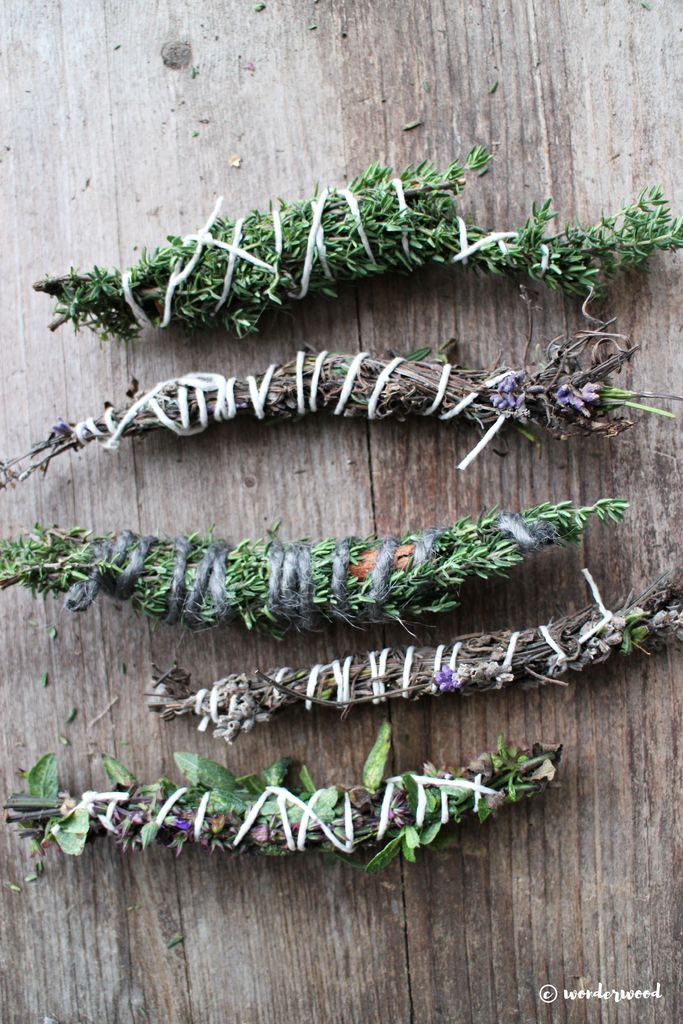 DIY lavender, lemongrass, rosemary and cinnamon smudge sticks