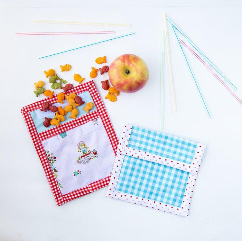 DIY reusable colorful snack bags (via www.coralandco.com)
