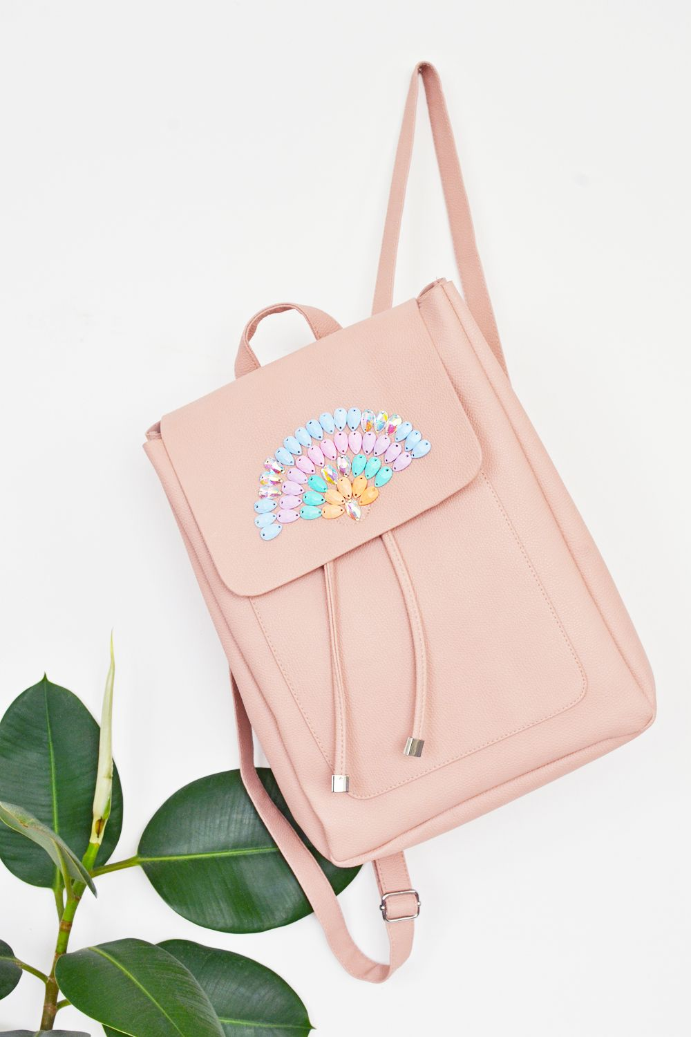 DIY pastel backpack with rainbow crystals