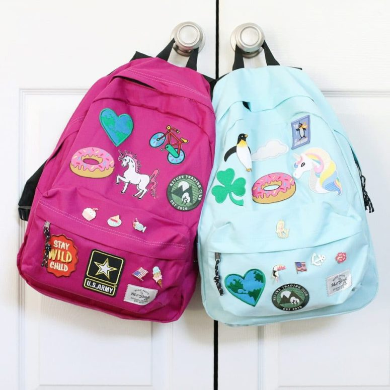DIY backpacks spruce dup with pitches, patches and glue (via www.thesweetersideofmommyhood.com)