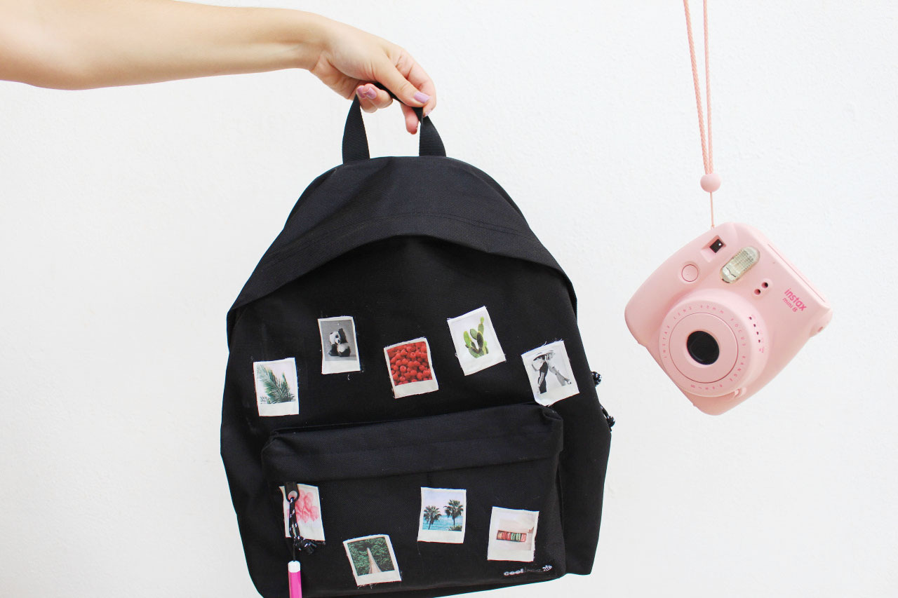 DIY Polaroid decorated backpack