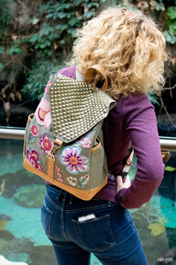 DIY bright floral and std backpack refashion (via scratchandstitch.com)