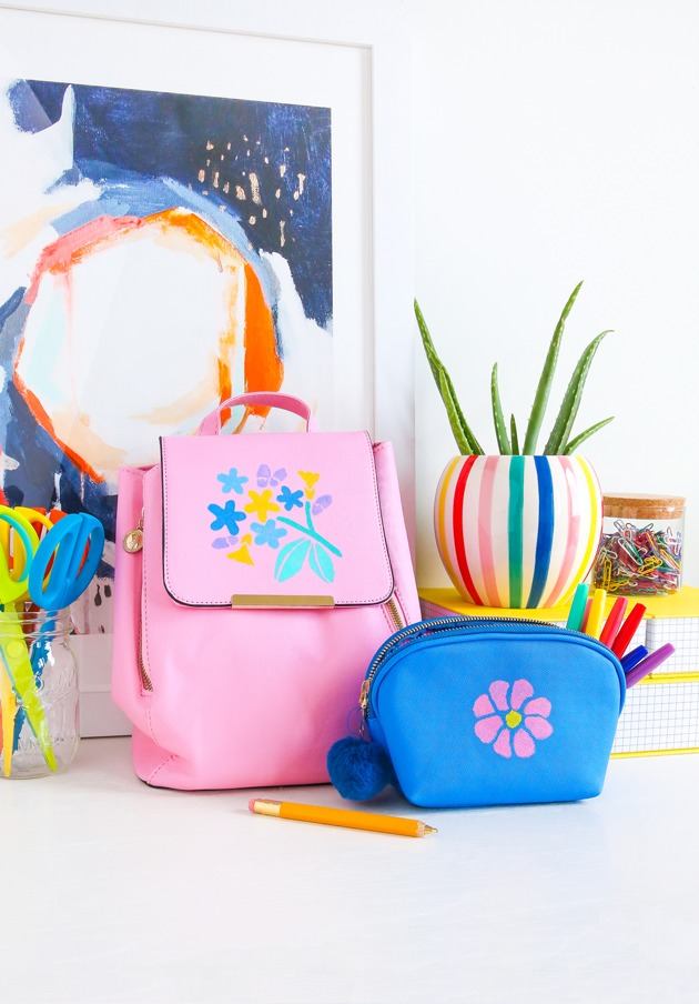 DIY colorful stenciled backpack (via thecraftedlife.com)