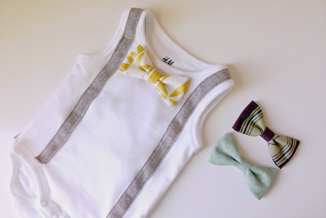 DIY little gentleman onesie with a bowtie and suspenders