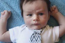DIY onesie with a necktie attached
