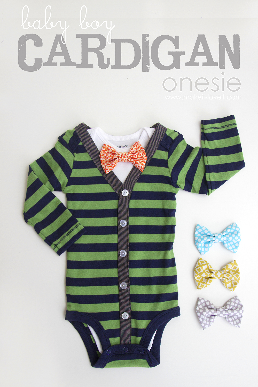 DIY boy cardigan onesie with interchangeable bowties