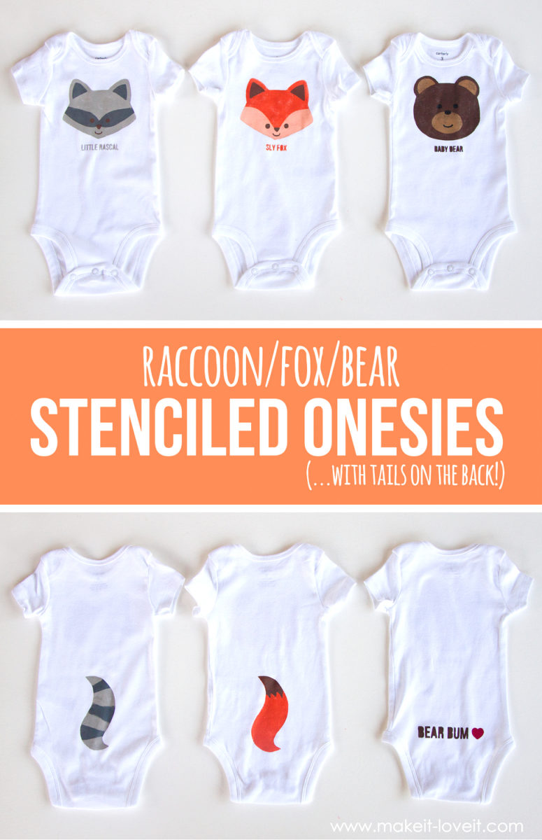 DIY fox and bear stenciled onesies (via makeit-loveit.com)