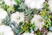 02 a gorgeous modern pumpkin arrangement of white pumpkins and pale succulents – place them wherever you want