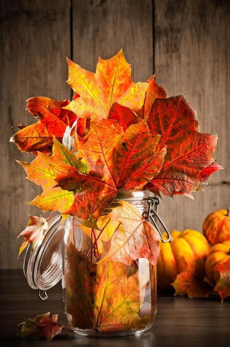 a jar with bright fall leaves is a cool centerpiece or just fall decoration idea you may easily make