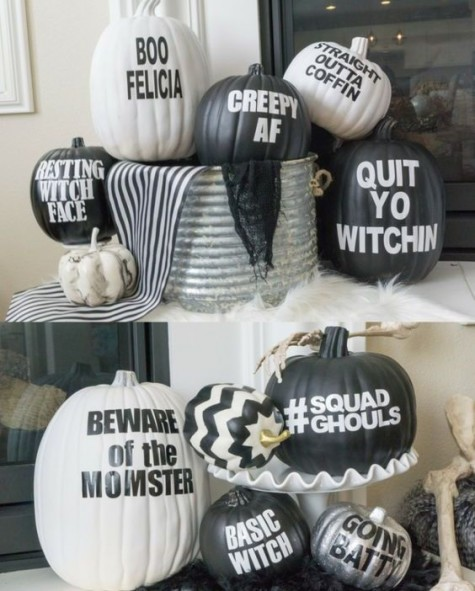 funny and whimsy black and white pumpkins with stenciled quotes on them and silver ones for an accent