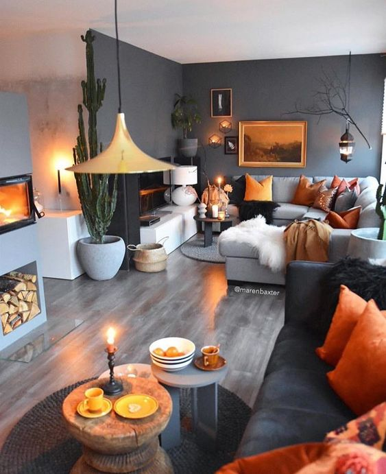 orange and rust details and touches make this moody space fall-like and bright