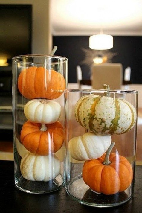 what can be more simple than placing some natural pumpkins in tall glass vases   this is a very modern idea