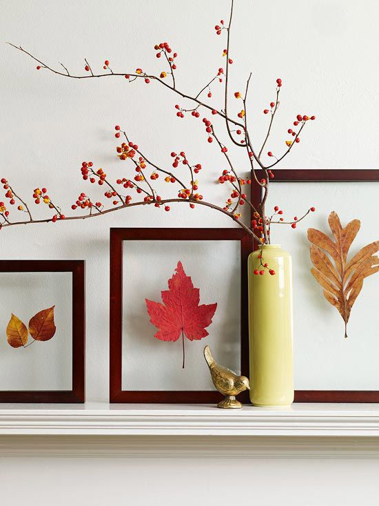 a gallery wall of bright fall leaves in frames and a berry arrangement in a vase for stylish fall decor with a modern feel