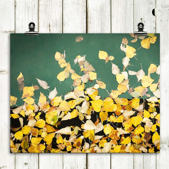 a large wall art with a black backdrop and real fall leaves attached looks very natural and minimalist
