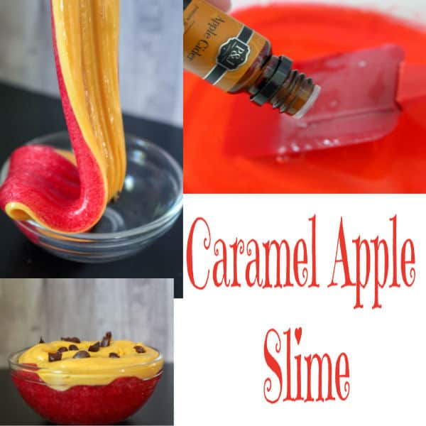 DIY bright and glitter caramel apple slime