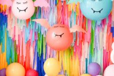 DIY giant colorful balloon bats