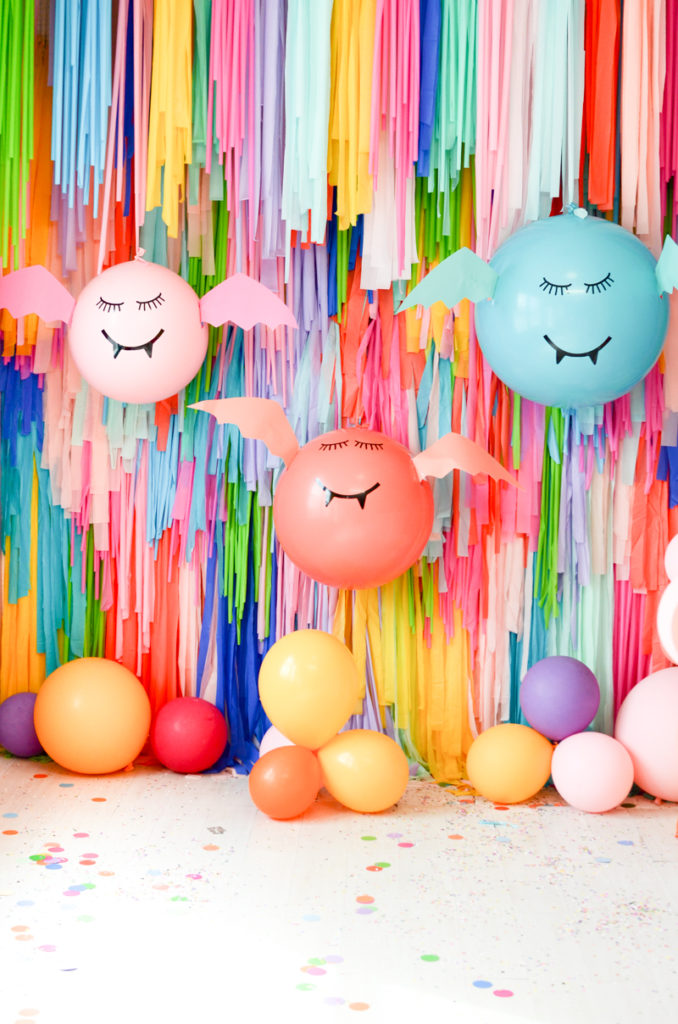 DIY giant colorful balloon bats (via akailochiclife.com)
