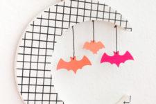 DIY 80s grid Halloween decoration with bats