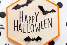 DIY hexagon Halloween sign with bats