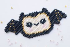 DIY Halloween bat of colorful beads