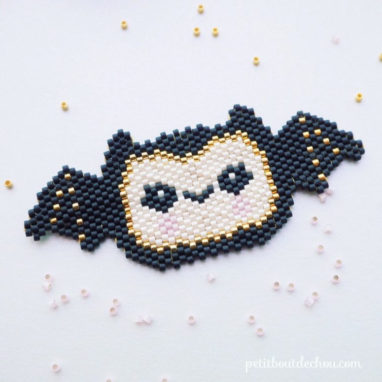 DIY Halloween bat of colorful beads (via www.petitboutdechou.com)