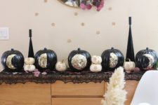 DIY black pumpkins with moon phases made of gold foil
