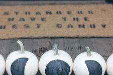 DIY black and white moon phase pumpkins