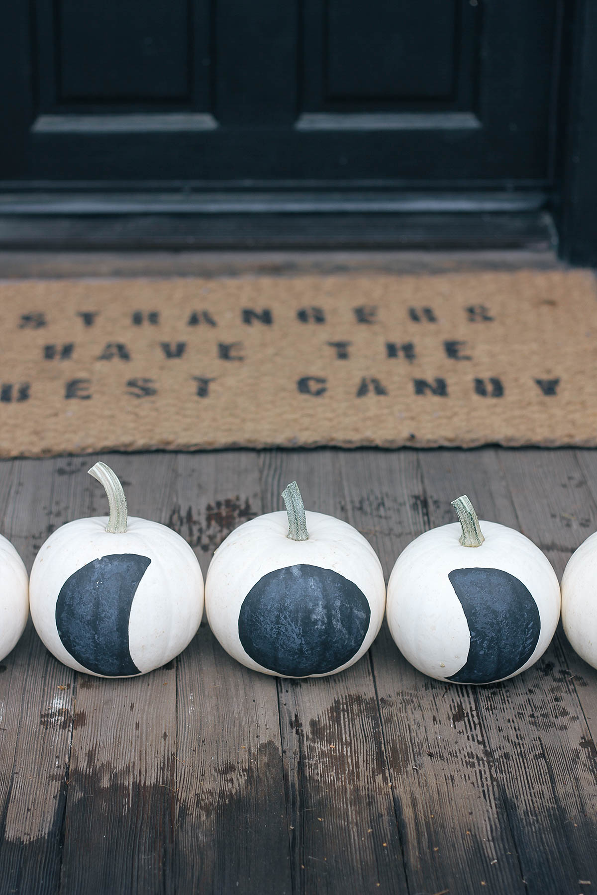 DIY black and white moon phase pumpkins