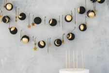 DIY black and gold moon phase lights