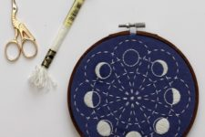 DIY moon phase embroidery art piece