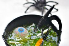 DIY sheer green slime with plastic figurines
