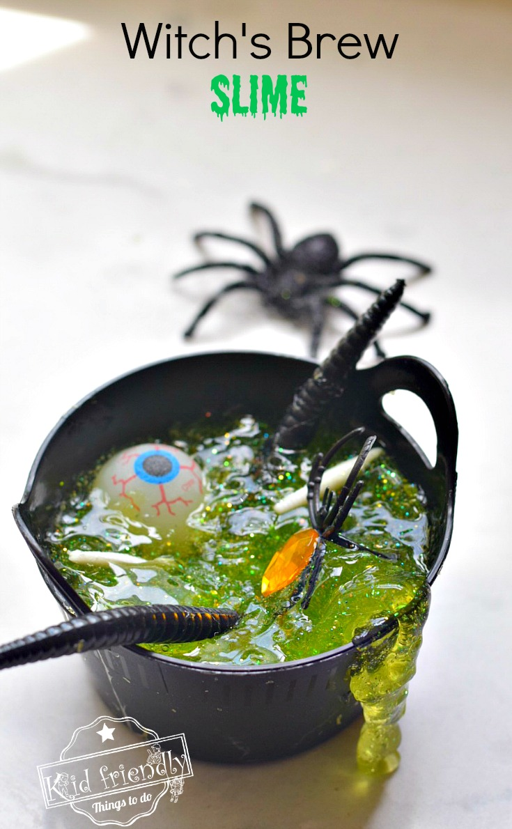 DIY sheer green slime with plastic figurines