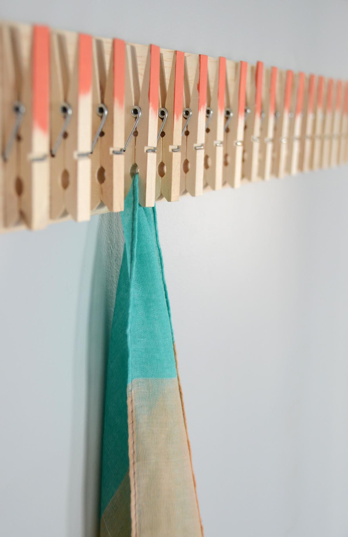 DIY clothespin scarf hanger