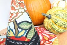 DIY designer witch hat in bright fall colors