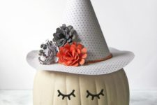 DIY pumpkin in a witch hat decor