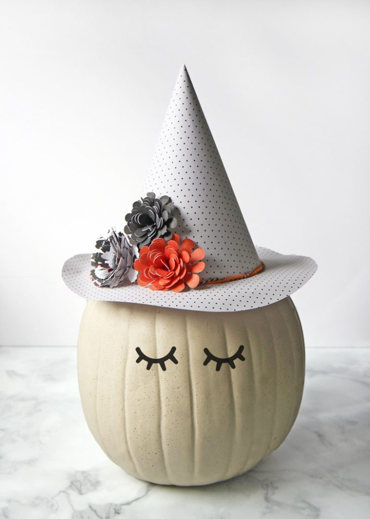 DIY pumpkin in a witch hat decor