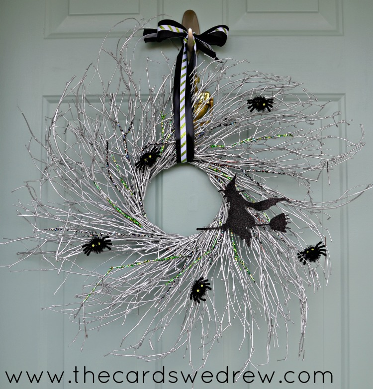 DIY glam witch wreath with sparkles and spiders