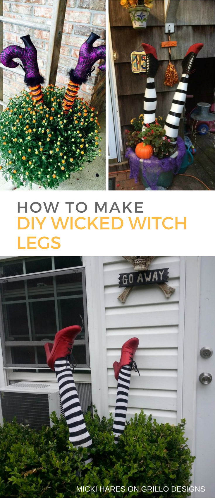 DIY wicked witch legs decor for Halloween (via grillo-designs.com)