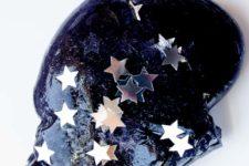 DIY dark starry night sky with stars slime