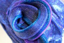 DIY bright galaxy slime with glitter