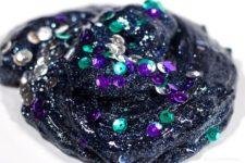 DIY dark galaxy slime with sequins