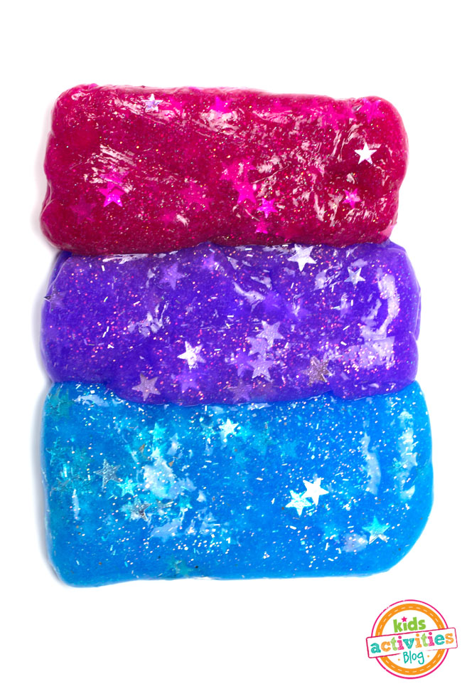 DIY super bright galaxy slime with stars (via kidsactivitiesblog.com)