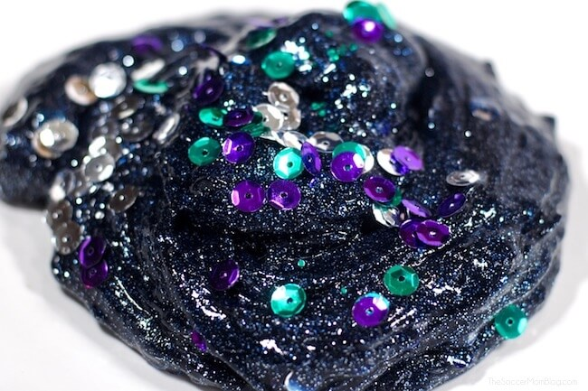 DIY dark galaxy slime with sequins (via thesoccermomblog.com)