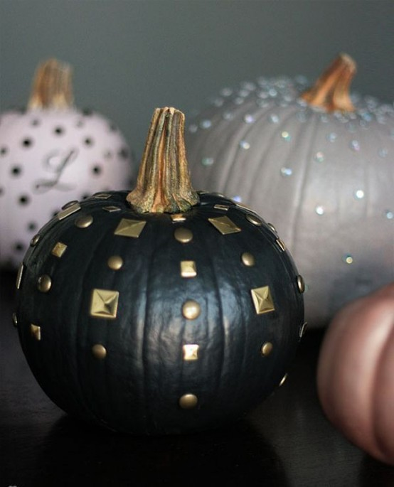 pastel, neutral and black studded pumpkns with gilded stems look super chic and will add a refined touch to the space