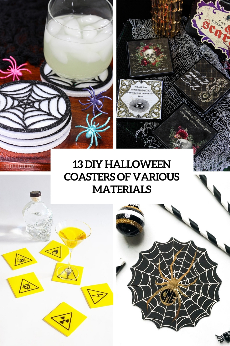 13 DIY Halloween Coasters Of Various Materials
