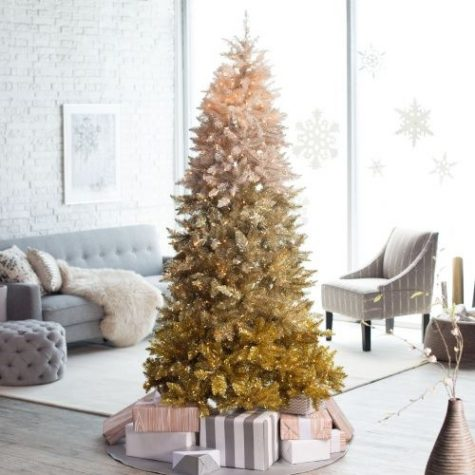 a vintage gold ombre Christmas tree with lights is a stylish and bold idea to try