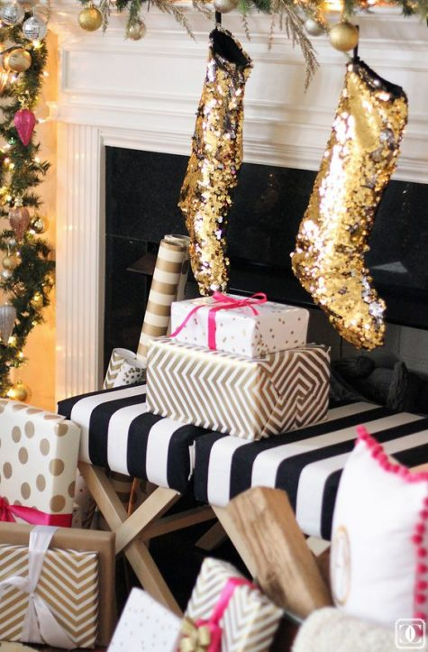 gold sequin stockings will add a fun and glam touch to the mantel