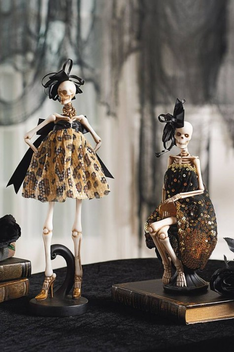refined skeleton dolls in stylish black and gold dresses will be amazing decorations for Halloween