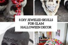 8 diy glam jeweled skulls for glam halloween decor cover