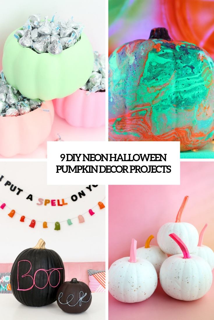 9 DIY Neon Halloween Pumpkin Decor Projects